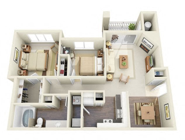 Cezanne 2 Bedroom 2 Bathroom 3D Floor Plan near me