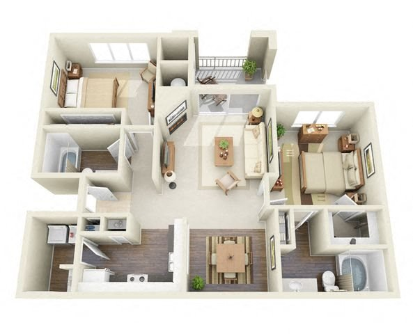Monet 2 Bedroom 2 Bathroom 3D Floor Plan in Adams 12 Five Star School District