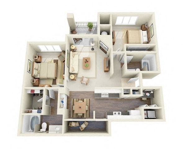 Gauguin 2 Bedroom 2 Bathroom 3D Floor Plan
