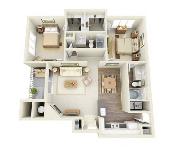 Pissaro 2 Bedroom 2 Bathroom 3D Floor Plan