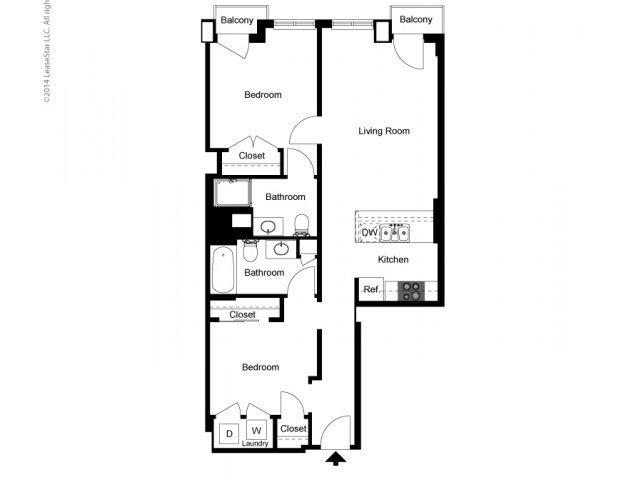 1 Bedroom + Den 2 Baths Floor Plan