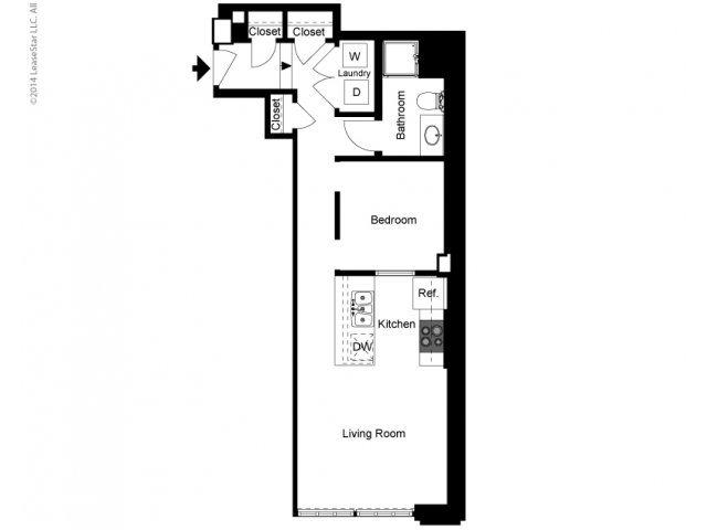 1 Bedroom Alcove A Floor Plan
