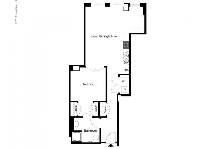 1 Bedroom B Floor Plan