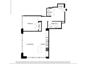1 Bedroom Historic Building B Floor Plan