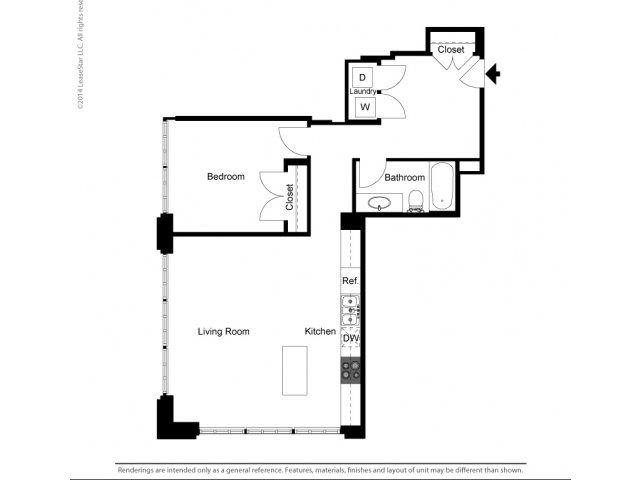 1 Bedroom Historic Building B Floor Plan