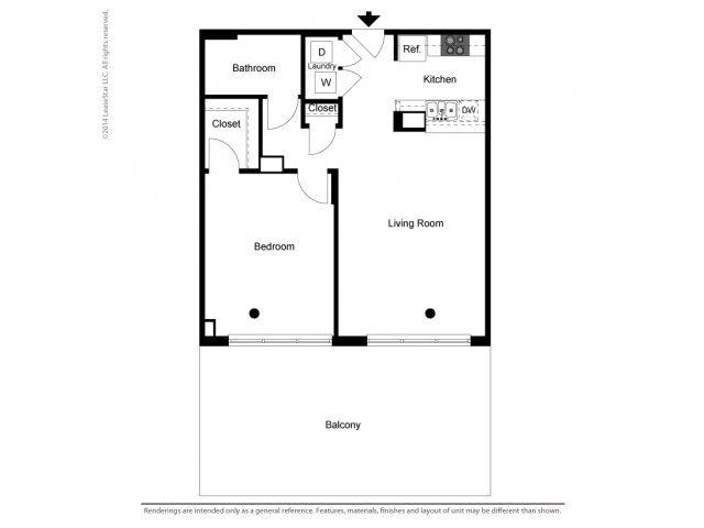 1 Bedroom Tower Floor Plan