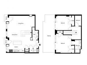 2 Bedroom Penthouse Floor Plan