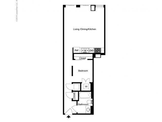 Alcove 1 Bedroom A Floor Plan