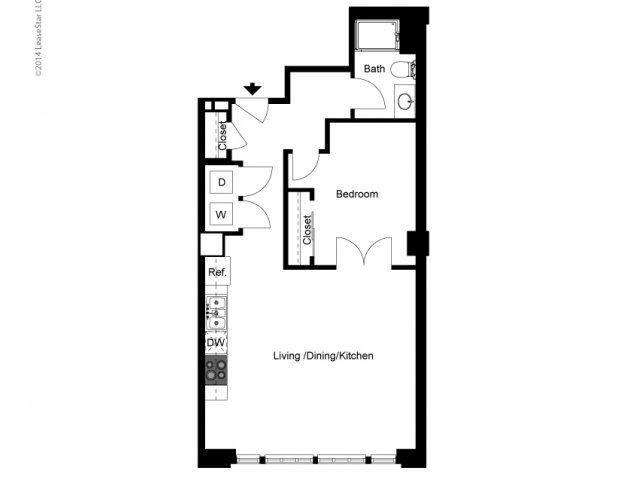 Historic 1 Bedroom B Floor Plan