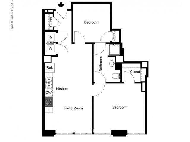 Historic 1 Bedroom + Den Floor Plan