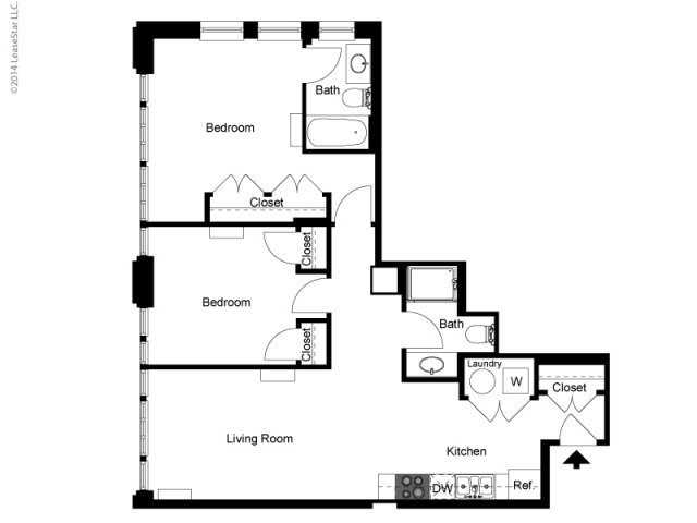 Historic 2 Bedroom 2 Bath Floor Plan