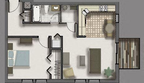 Woodlawn Terrace   1 Bed, 1 Bath
