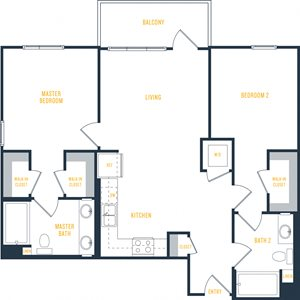 Wakaba LA Plan 9: 2 Bedroom, 2 Bath