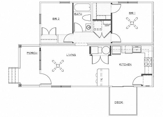 Riverwoods at Denton Floor Plan A1- Renovated 2 Bedroom 1 Bathroom Apartment