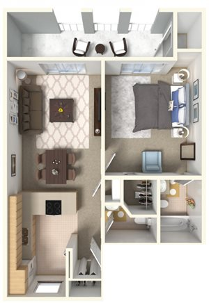 1 Bedroom 1.5 Bath