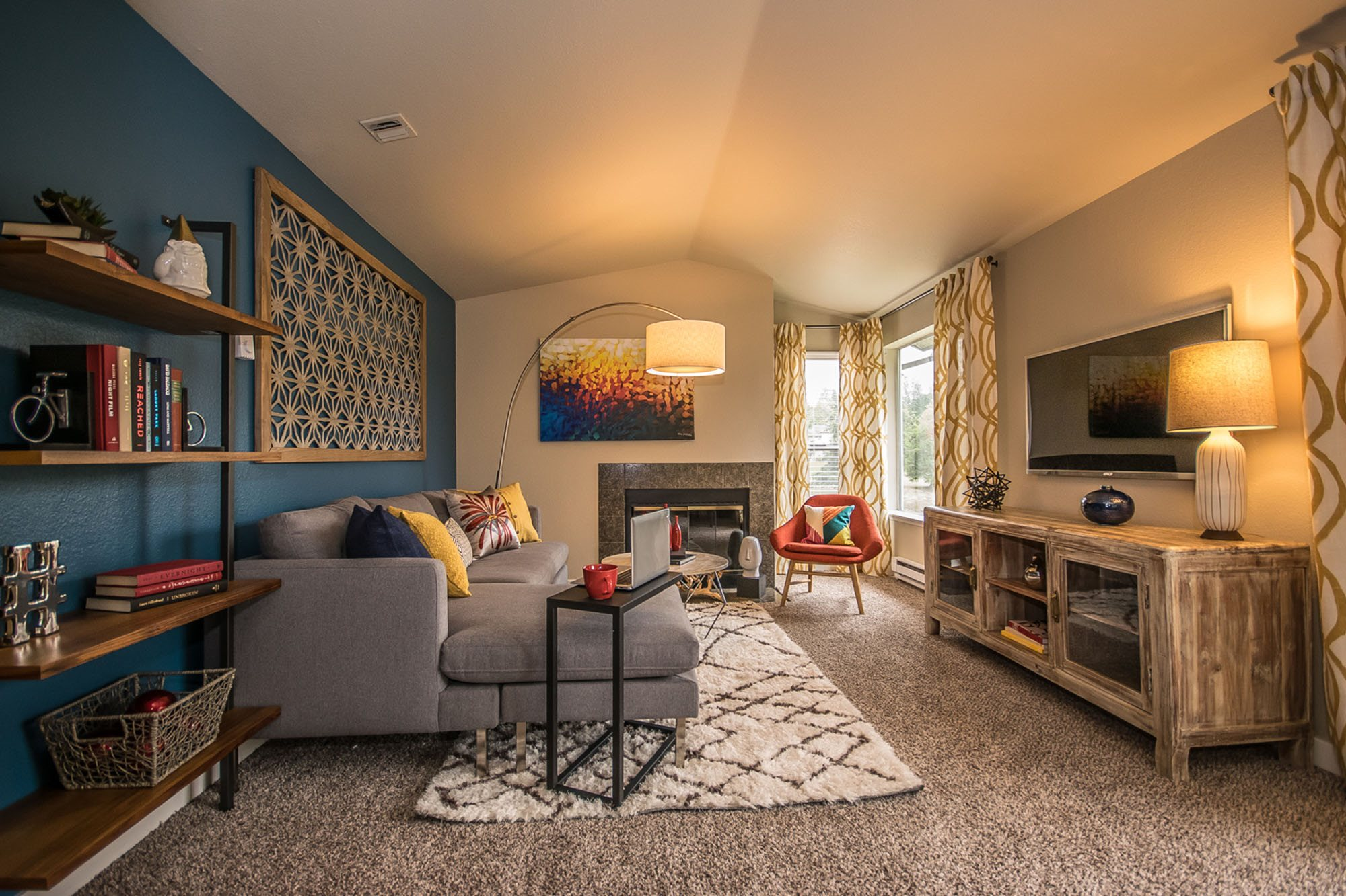 Large Living Room at The Fairways Apartments, Tacoma, WA,98422