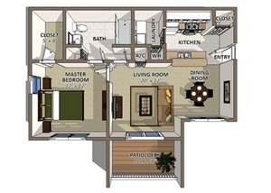 Juniper floor plan at Huntington at Sundance Apartments in Mulberry