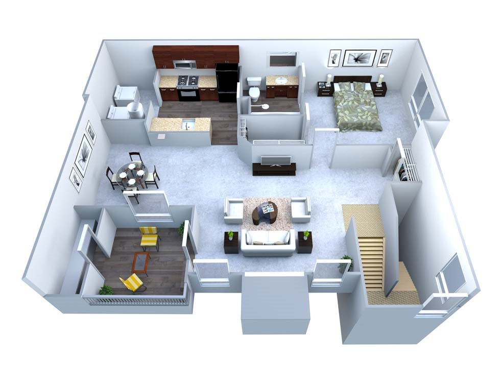 A Greenside 1 Bed/1 Bath Floor Plan 1