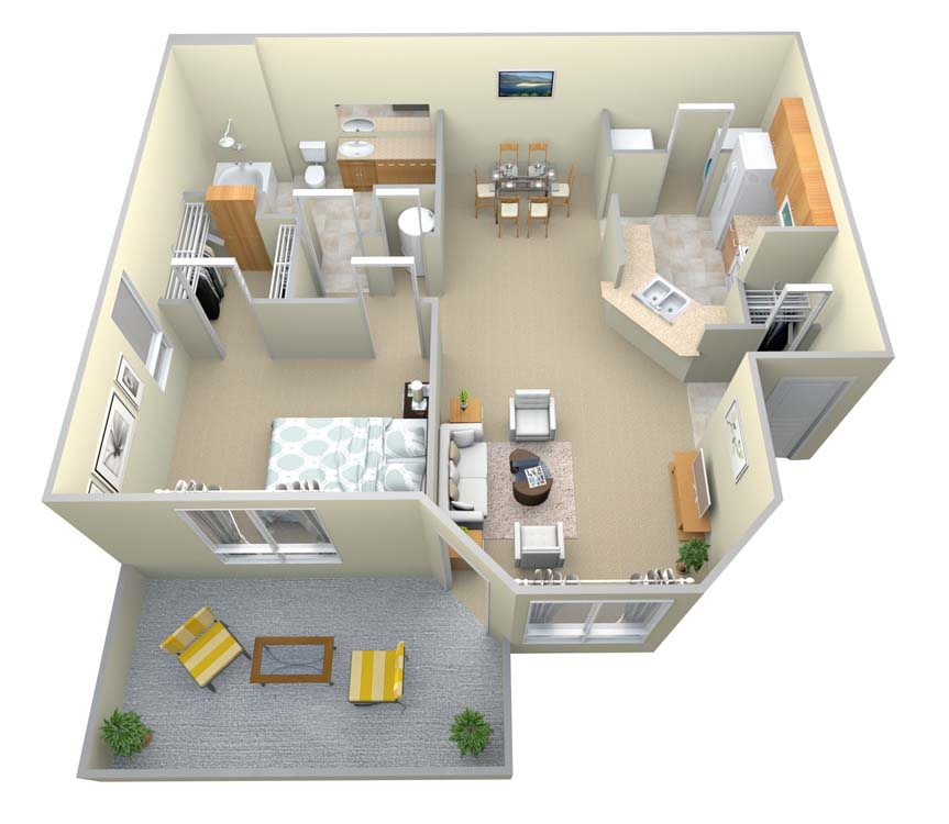 The Ansley 1 Bed/1 Bath Floor Plan 1