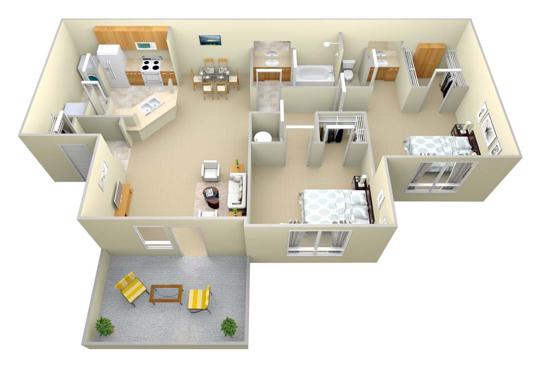 The Arbor 2 Bed/1 Bath Floor Plan 2