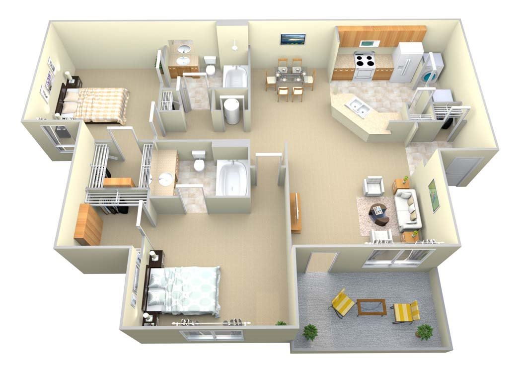 The Barrington 2 Bed/2 Bath Floor Plan 4