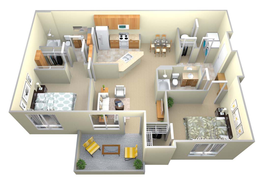 The Bulloch 2 Bed/2 Bath Floor Plan 3