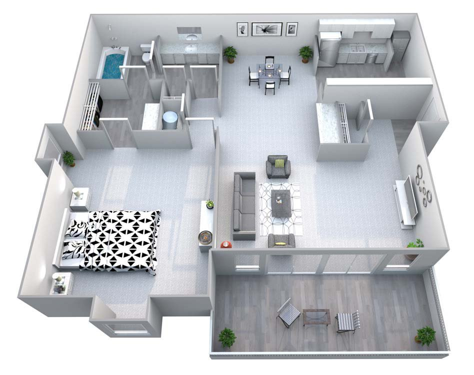 The Arbor 1 Bed/1 Bath Floor Plan 1