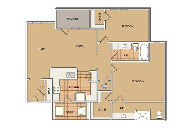 B1-Mountain View 2 Bed/2 Bath Floor Plan 2