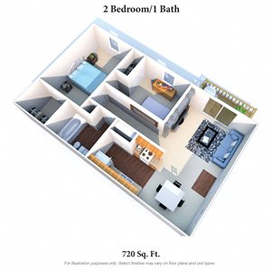 2 Bedrooms 1Bath Balcony