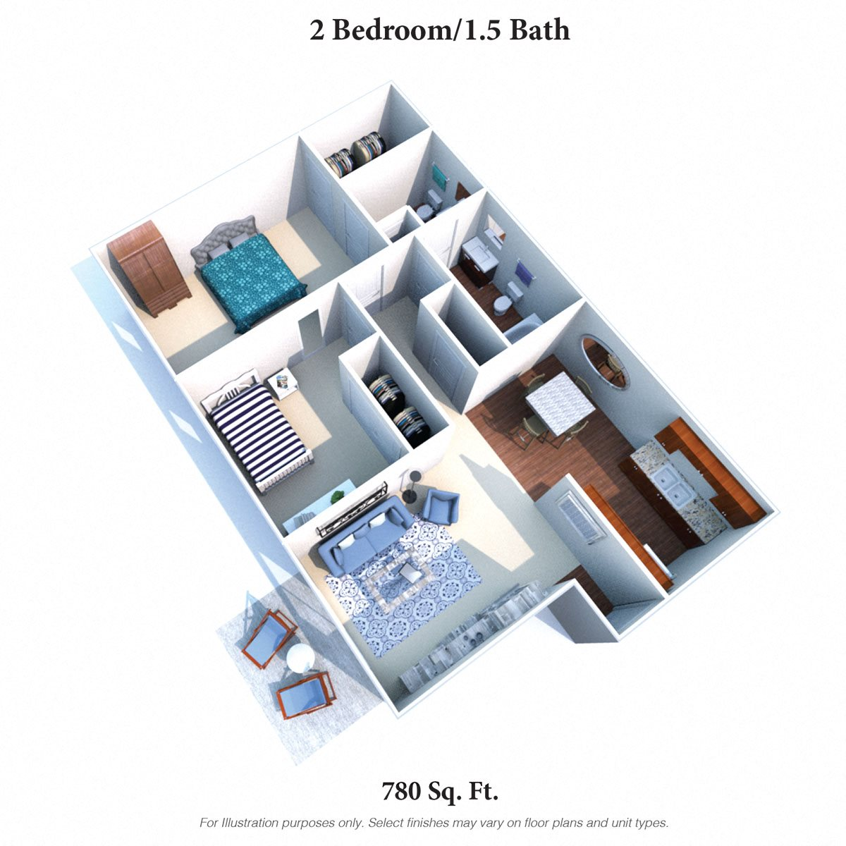 2 Bedrooms 1.5 Baths Floor Plan 3