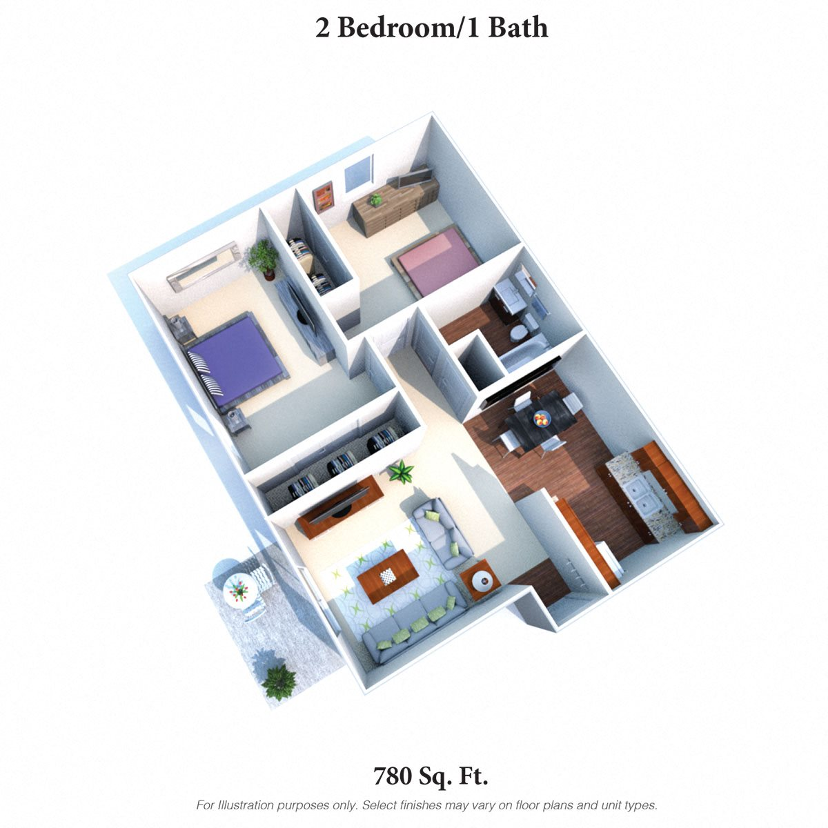 2 Bedrooms 1 Bath Floor Plan 2