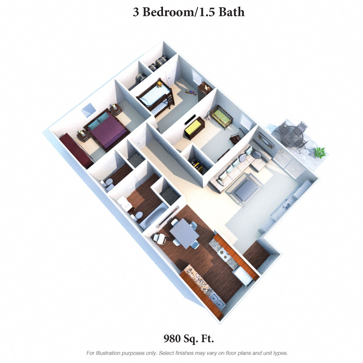 3 Bedrooms 1.5 Baths Floor Plan 4