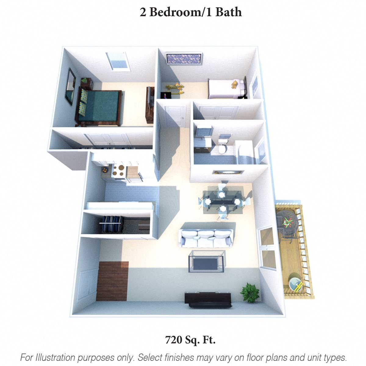 2 Bedrooms 1 Bath Floor Plan 4