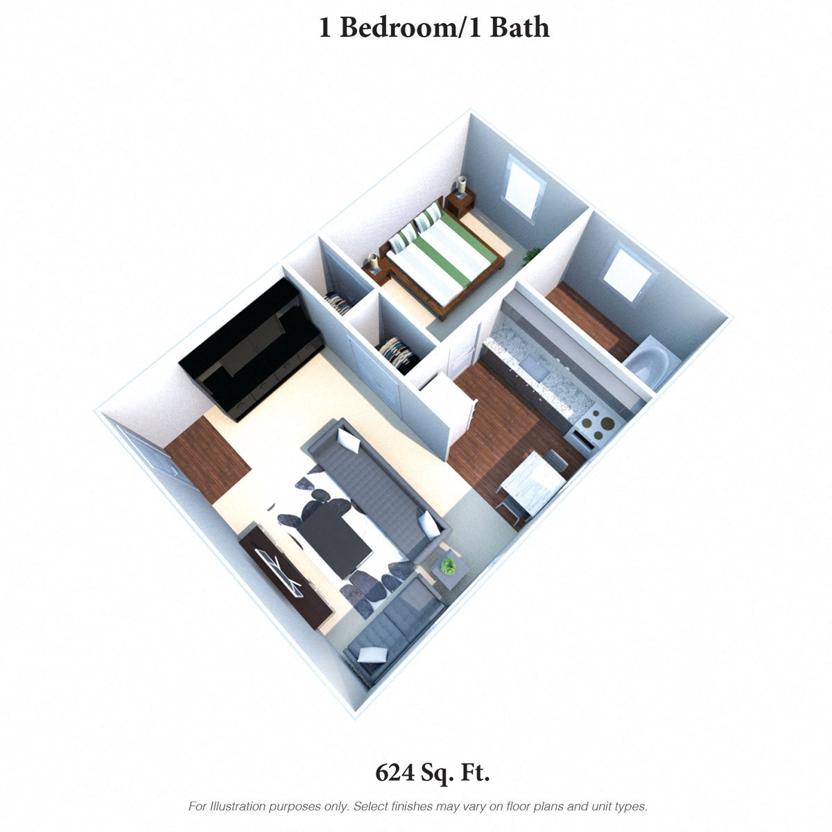 1 Bedroom 1 Bath Floor Plan 2