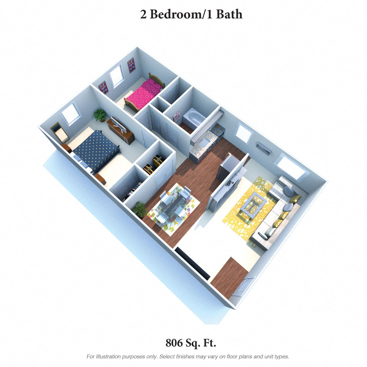2 Bedrooms 1 Bath Floor Plan 3