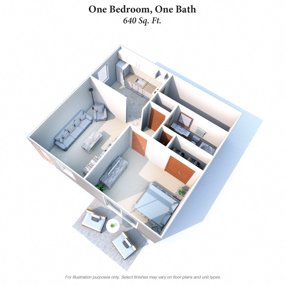 One Bedroom Garden Floor Plan 3