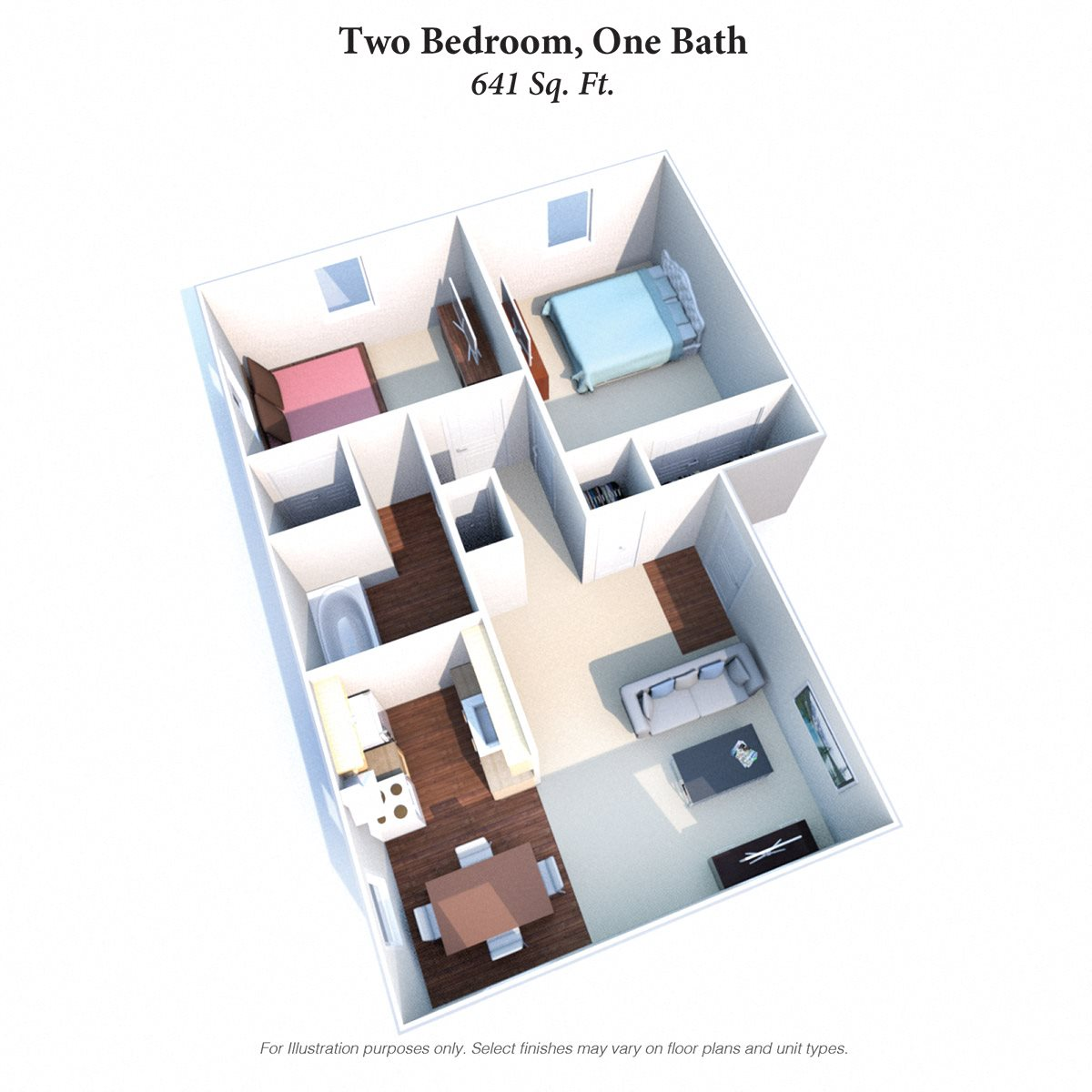 Two Bedroom 1 Bath Floor Plan 4