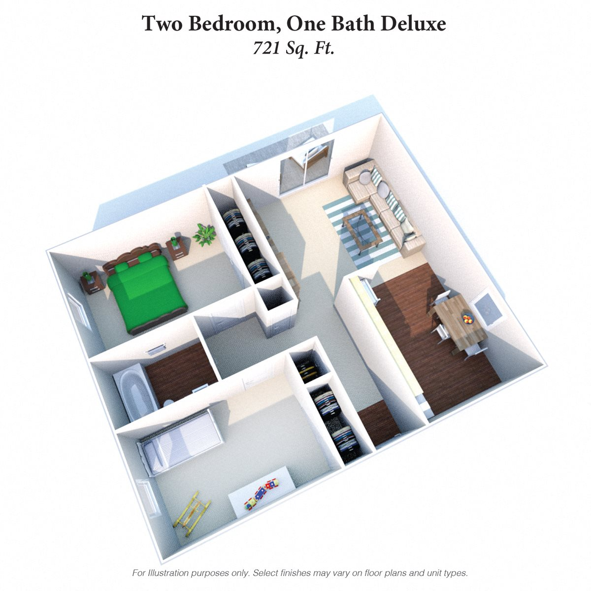 Two Bedroom 1 Bath Deluxe Floor Plan 5