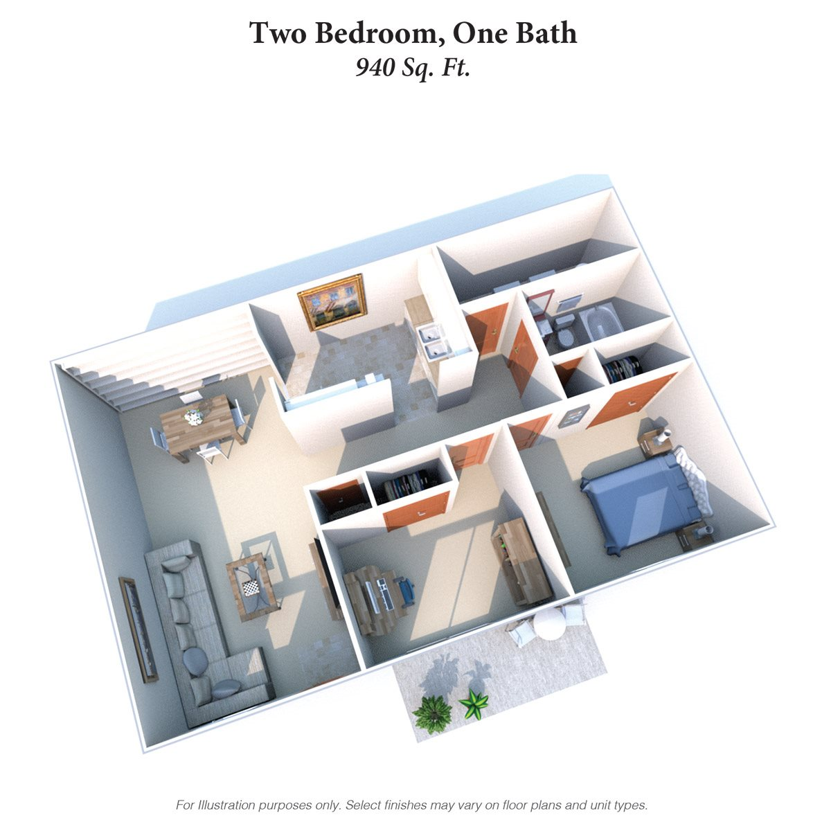 Two Bedroom One Bath Garden Floor Plan 6