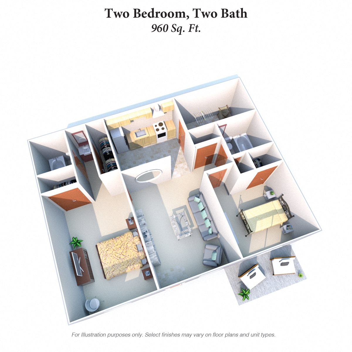 Two Bedroom 2 Bath Garden Floor Plan 7