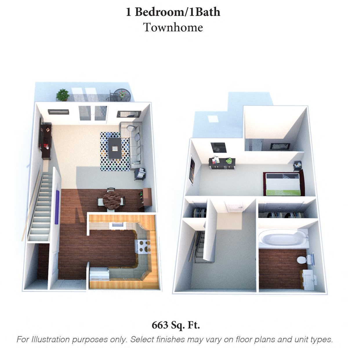 One Bedroom Townhome Floor Plan 5