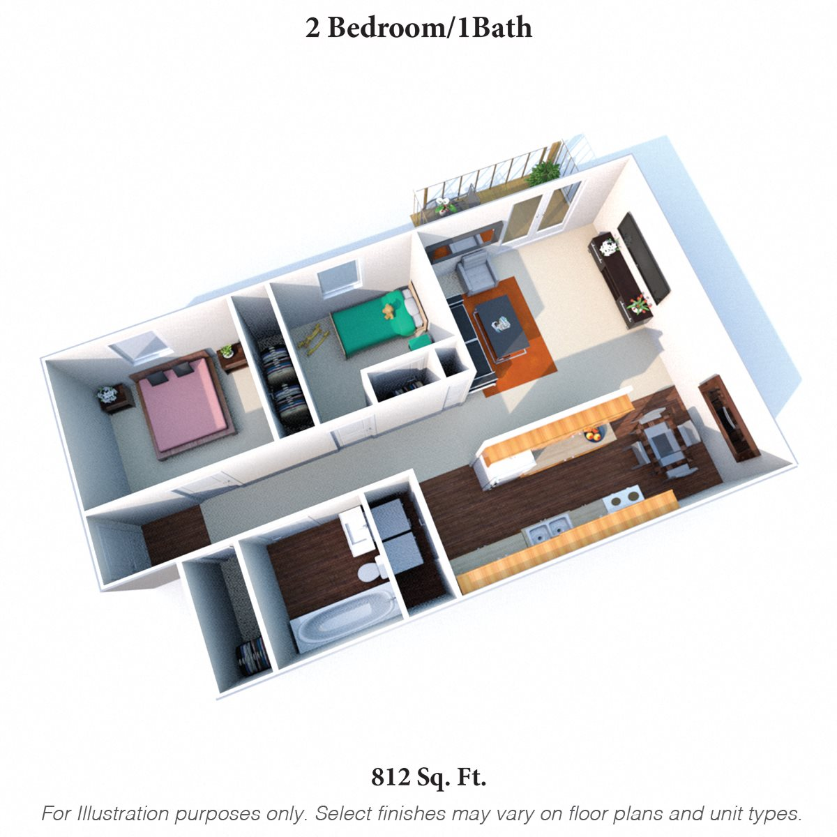 Two Bedroom 1Bath Floor Plan 3