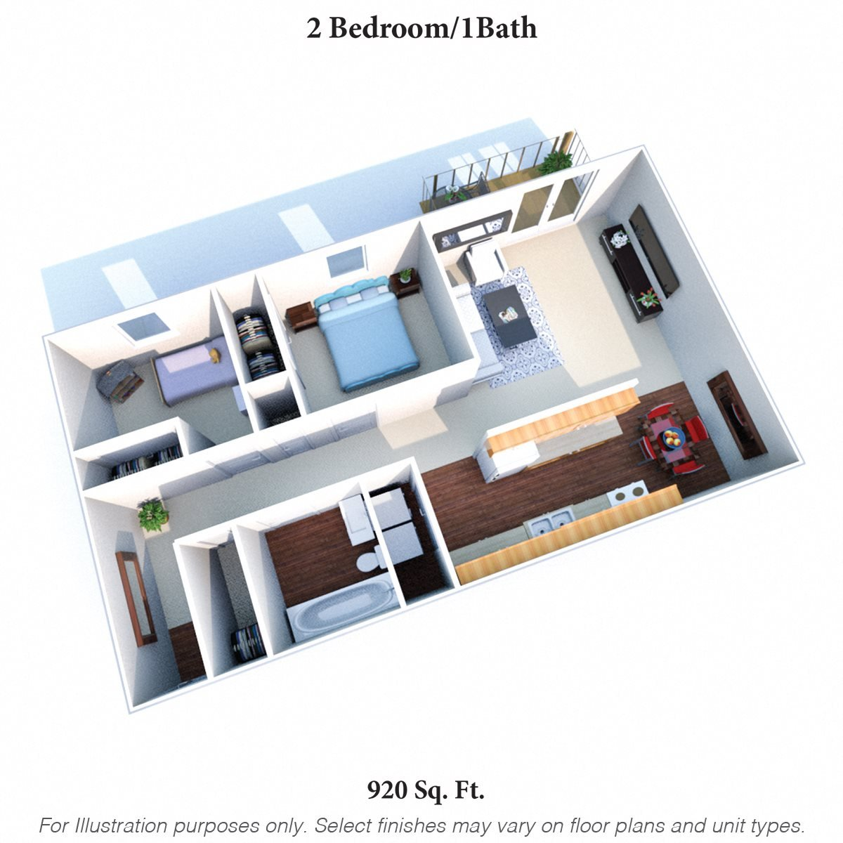 2 Bedroom  1Bath a Floor Plan 4