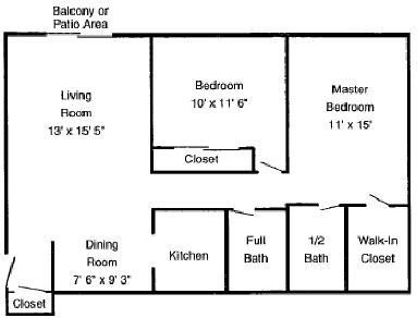 2 Bedrooms 1.5 Baths Floor Plan 5