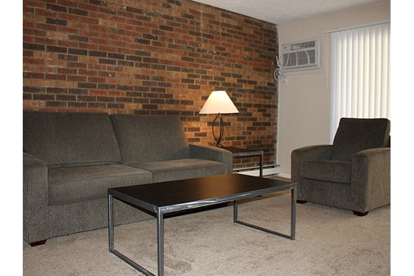 Exposed brick walls in select homes at Riverside Terrace in Cincinnati, OH