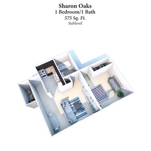 1B/1B Sharon Oaks 575SqFt