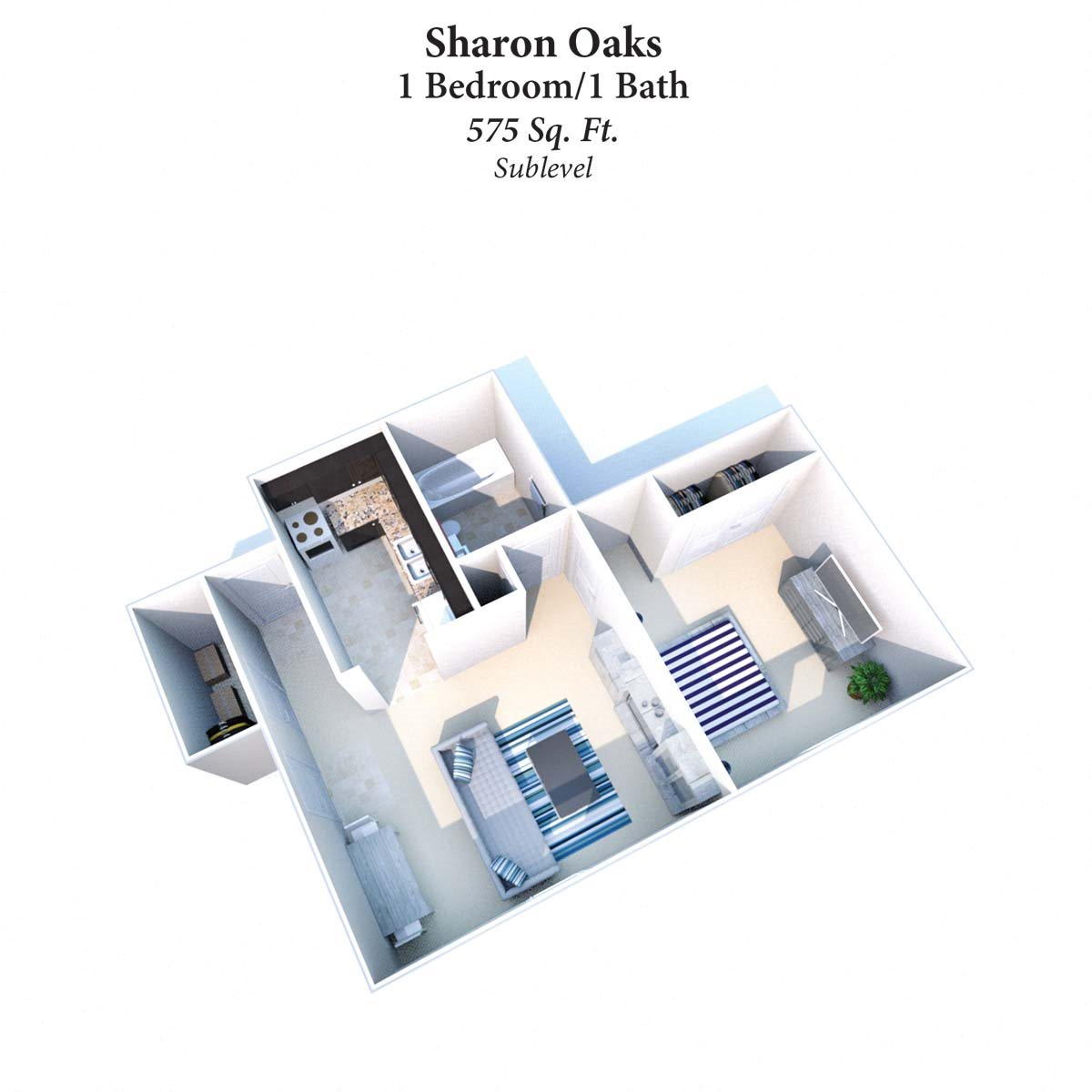 1B/1B Sharon Oaks 575SqFt Floor Plan 1