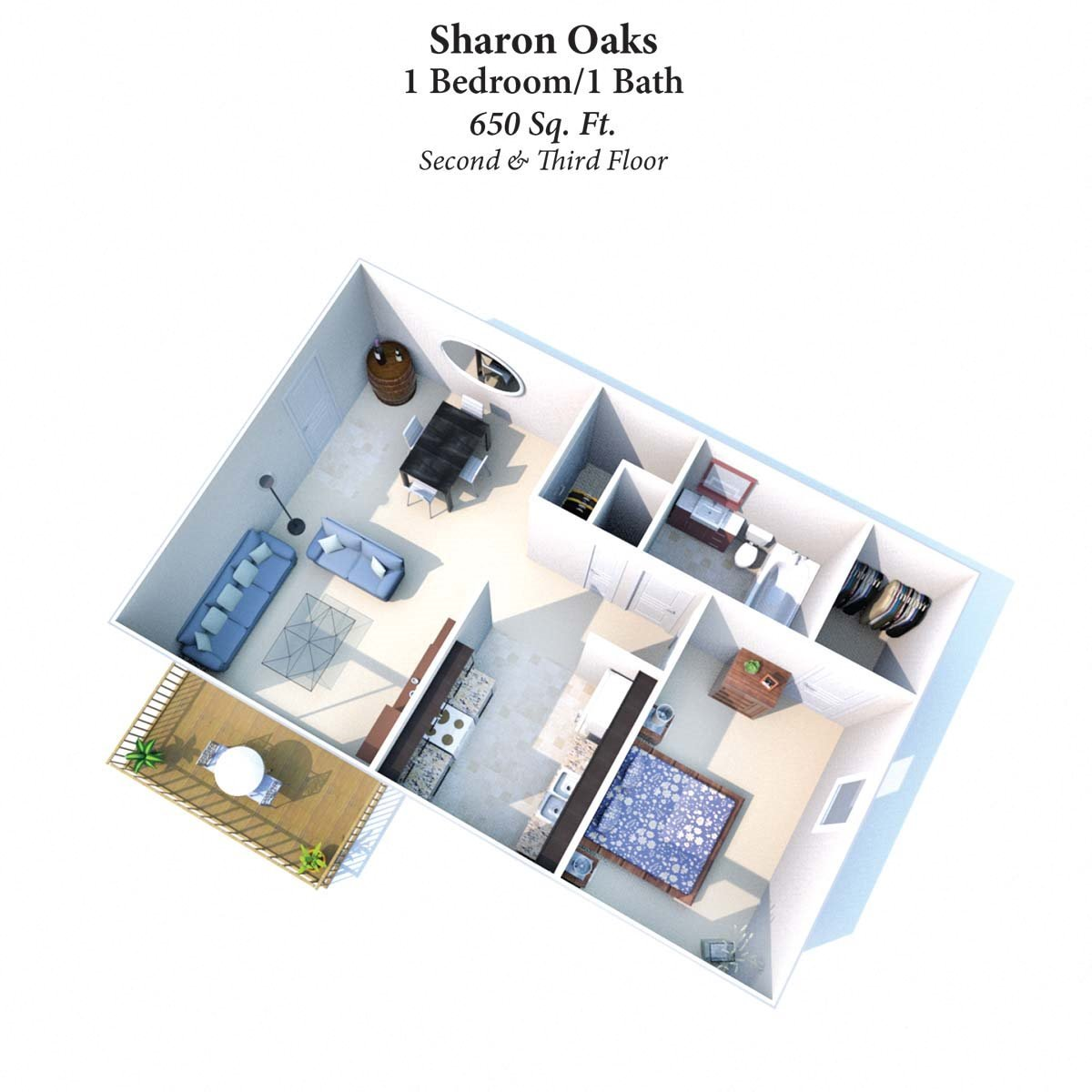 1B/1B Sharon Oaks 650SqFt Floor Plan 2
