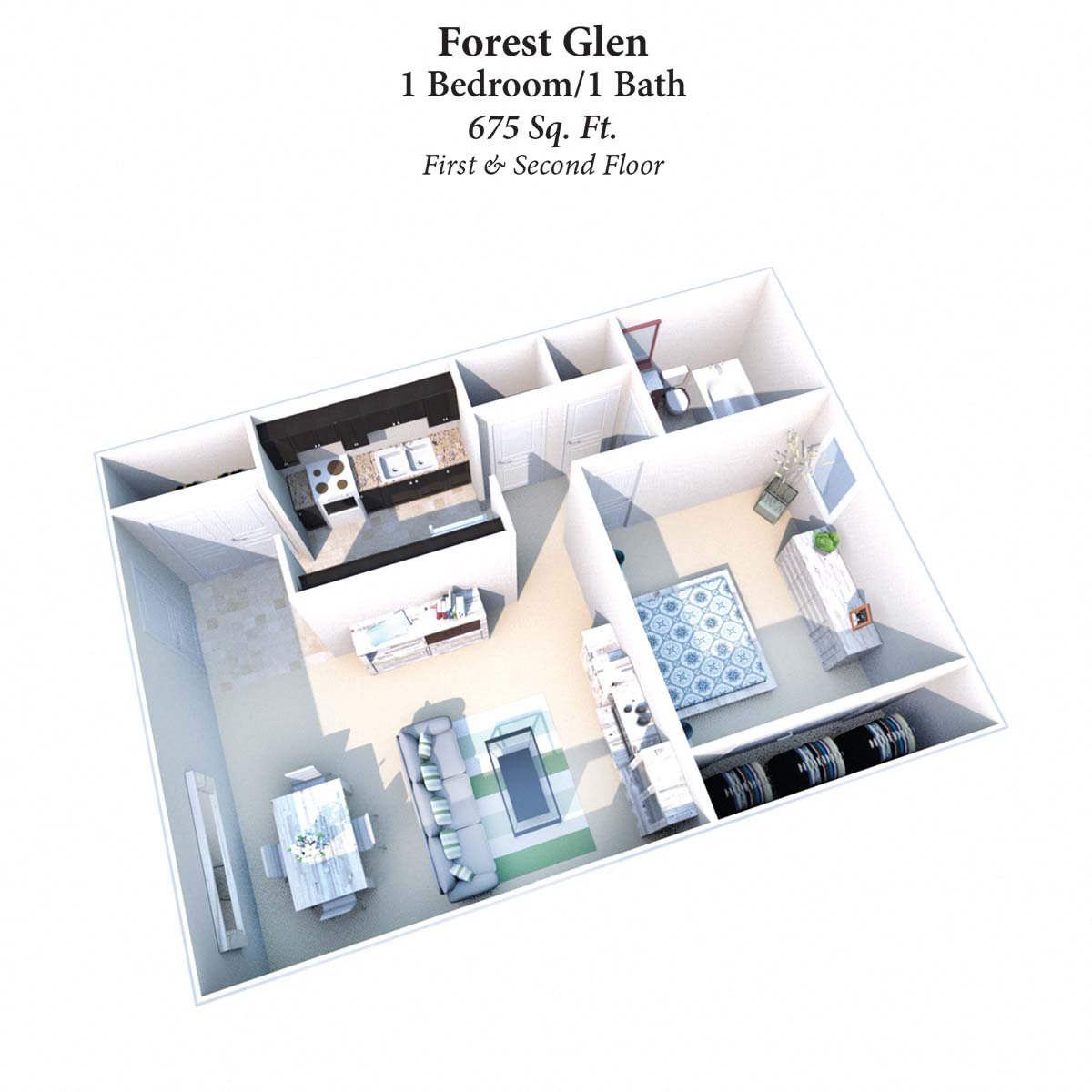 1B/1B Forest Glen 675SqFt Floor Plan 3