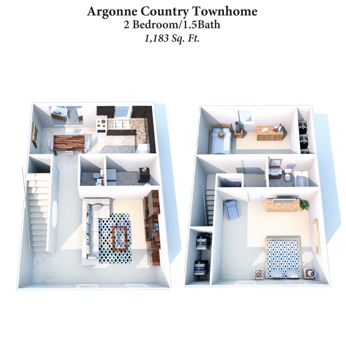 2B1.5B Argonne Townhome 1,1,83SqFt Floor Plan 9